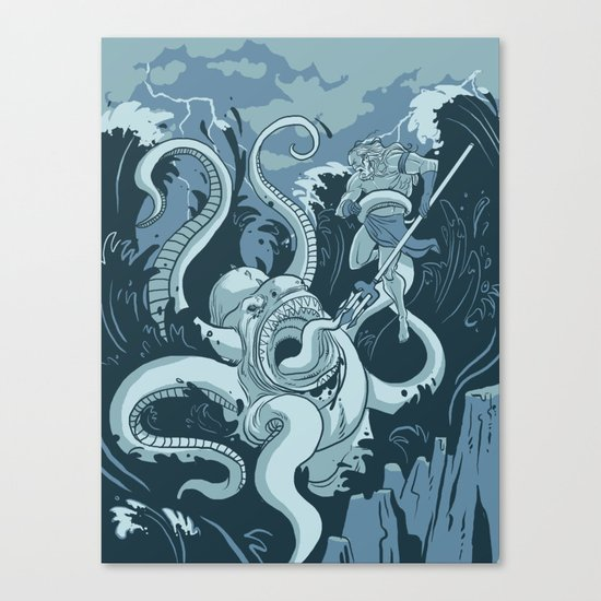 King Neptune Vs. The Sea Monster Canvas Print