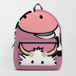 Smiling Cow with Daisies Backpack