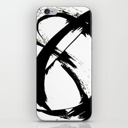 Brushstroke 7: a minimal, abstract, black and white piece iPhone Skin