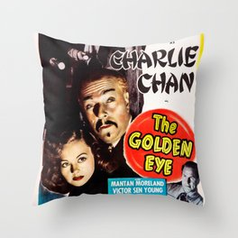 Charlie Chan in The Golden Eye (1948) - Vintage Film Poster Throw Pillow