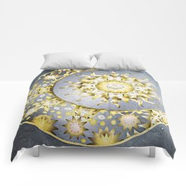 Golden Moon and Sun Comforters