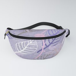 Dragonflies and leaves on purple pattern Fanny Pack