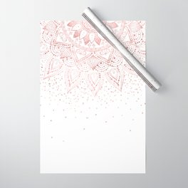 Elegant rose gold mandala confetti design Wrapping Paper