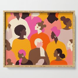 Female diverse faces pink Serving Tray