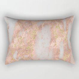 Rose Gold Marble with Yellow Gold Glitter Rectangular Pillow