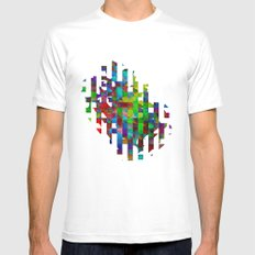 Cubed MEDIUM White Mens Fitted Tee