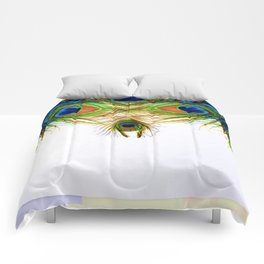 GORGEOUS BLUE-GREEN PEACOCK FEATHERS ART Comforters
