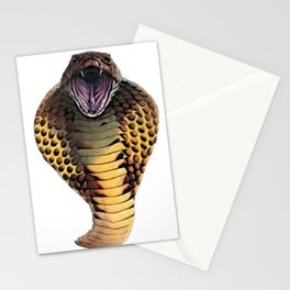 Cobra Snake Face Reptilia Attacks Forked Tongue Outside Stationery Cards