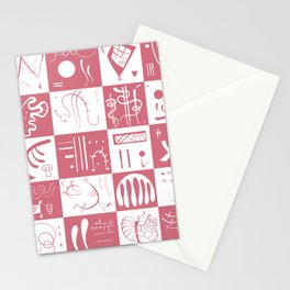 Kandinsky - White and Rose Pattern - Abstract Art Stationery Cards
