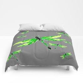 EMERALD GREEN  SWAMP DRAGONFLIES GREY ART Comforters