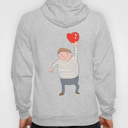 fat boy holding a heart. Hoody