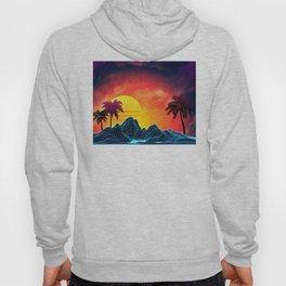 Sunset Vaporwave landscape with rocks and palms Hoody