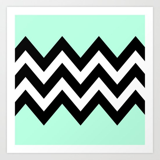 DOUBLE COLORBLOCK CHEVRON {MINT/BLACK} Art Print