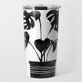 House plant linocut zen yoga black and white minimalist art prints for home Travel Mug