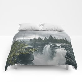 Landscape Athabasca Falls Christmas Comforters