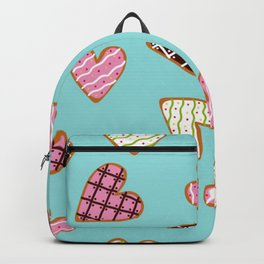 seamless pattern with heart shaped cookies with sugar icing Backpack