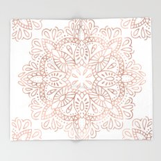 Mandala Rose Gold Pink Shimmer by Nature Magick Throw Blanket