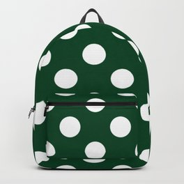 UP Forest green - green - White Polka Dots - Pois Pattern Backpack
