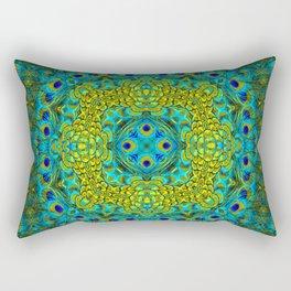 Peacock Feathers - Blue Rectangular Pillow