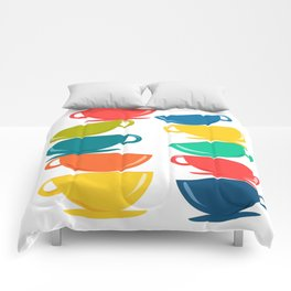 A Teetering Tower Of Colorful Tea Cups Comforters