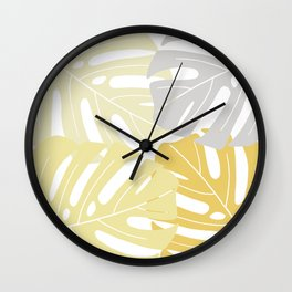 Yellow tropical leaves Wall Clock