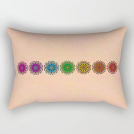 Colorful Rainbow Chakra Mandala , Yoga & Meditation Seven Sacred Mandalas Flower Painting Rectangular Pillow