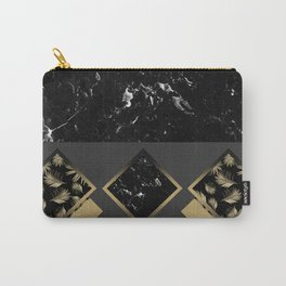 Black Marble Meets Tropical Palms Geo #1 #decor #art #society6 Carry-All Pouch