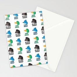 Misfit Animals: Black Sheep, Odd Duck, Lone Wolf Pattern Stationery Cards