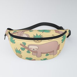 cute cartoon sloth seamless pattern background with exotic leaves, pineapples and bananas Fanny Pack