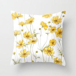 Yellow Cosmos Flowers Throw Pillow
