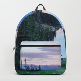 Hikers Bliss Perfect Scenic Nature View \ Mountain Lake Sunset Beautiful Backpacking Landscape Photo Backpack