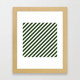 Large Dark Forest Green and White Candy Cane Stripes Framed Art Print