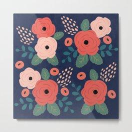 Flower Pattern, Pink Red Flowers on Blue, Vintage, Floral Metal Print