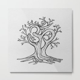 Om Tree Black & white Metal Print