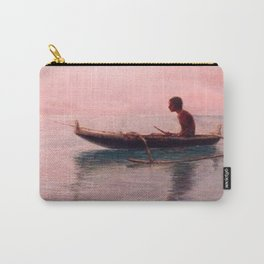 Man in his outrigger wa'a, Pink Sunset Hanauma Hawaiian landscape painting by D. Howard Hitchcock Carry-All Pouch
