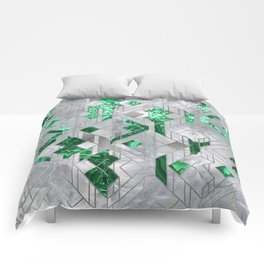 Abstract Geometric Malachite and Mother of pearl Comforters