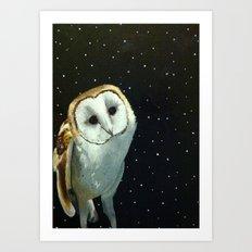 Barn Night Owl Art Print