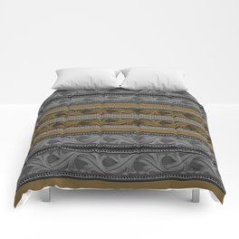 Fret Stripe in Black and Brown Comforters