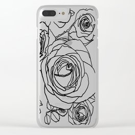 Feminine and Romantic Rose Pattern Line Work Illustration Clear iPhone Case