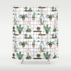 Modern Succulents Shower Curtain