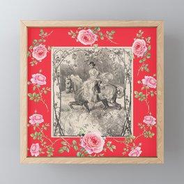 Girl riding horse in the rose garden - Romantic scene Framed Mini Art Print