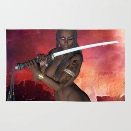 Dark Samurai sword girl nude Rug