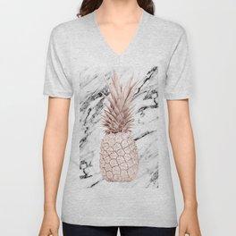 Rose Gold Pineapple on Black and White Marble Unisex V-Neck