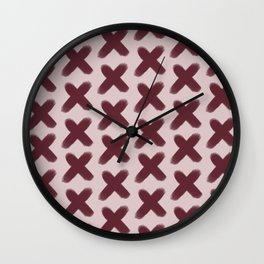 Pink and Red Xs Wall Clock