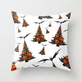 Halloween Christmas Trees Pattern - White Throw Pillow