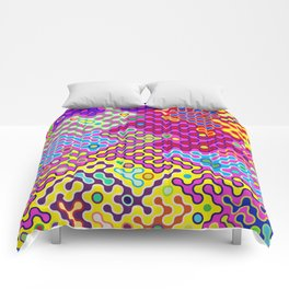 Abstract Psychedelic Pop Art Truchet Tile Pattern Comforters