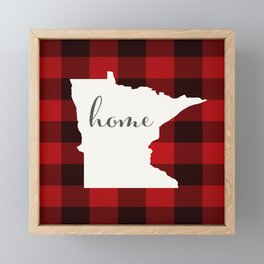 Minnesota is Home - Buffalo Check Plaid Framed Mini Art Print