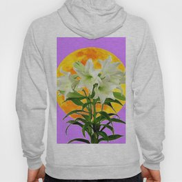 EASTER LILIES ON LILAC GOLDEN MOON Hoody