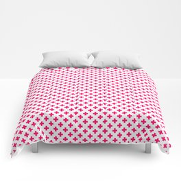 Small Hot Neon Pink Crosses on White Comforters