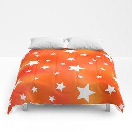 Orange and White Star Pattern Comforters